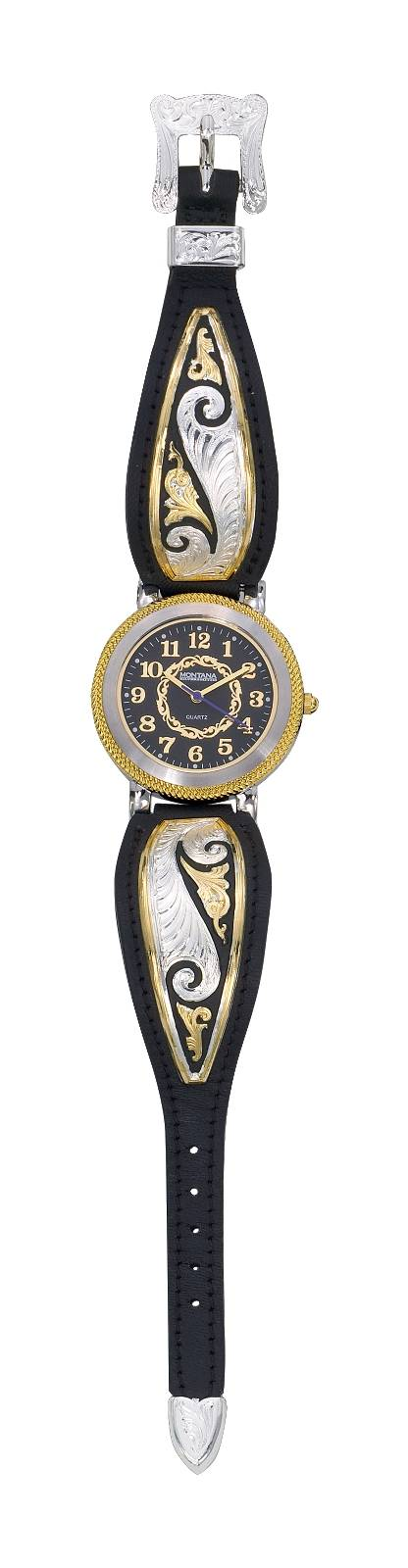 Montana Silversmiths Fancy Scroll Ladies Black Leather Band Watch, Large Round Face