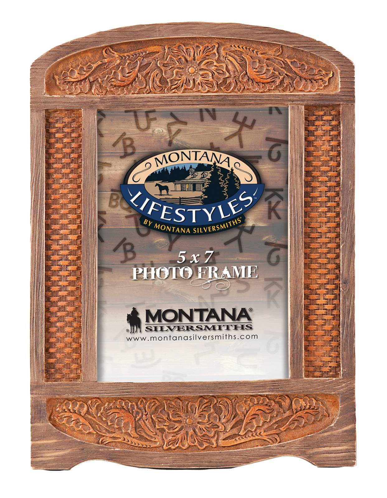 Montana Silversmiths Arched Tooled Leather Photo Frame