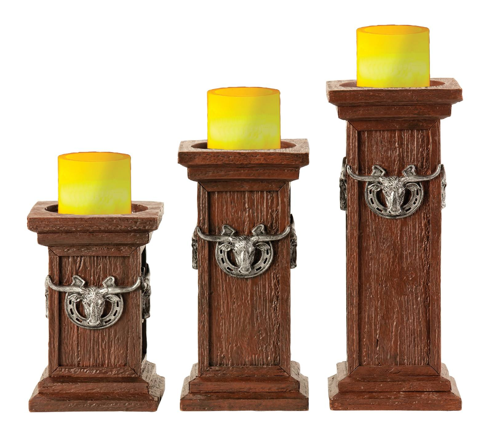 Montana Silversmiths Square Longhorn Pillar Candle Holders