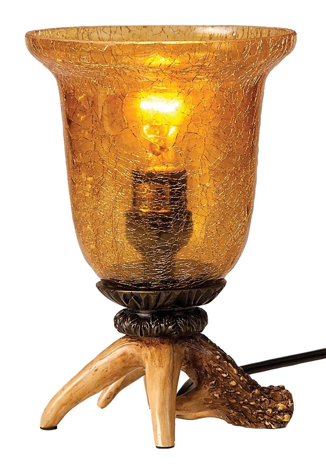 Montana Silversmiths Antler Lamp with Amber Glass Shade