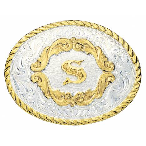 Montana Silversmiths Initial P Gold Filigree Western Belt Buckle