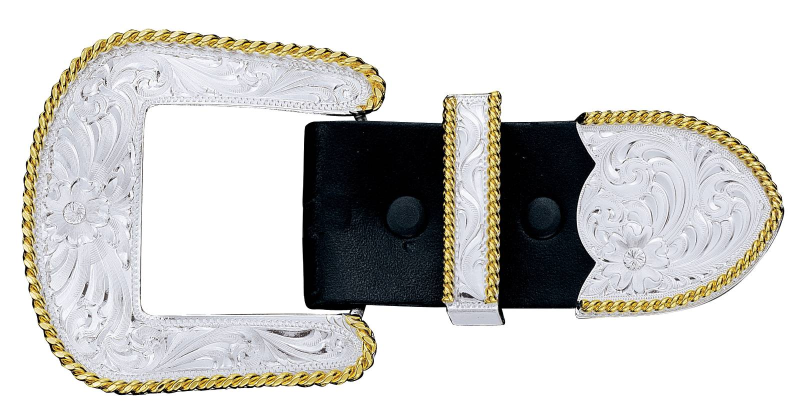 Montana Silversmiths Silver Filigree Gold Trim 3 Piece Belt Buckle Set