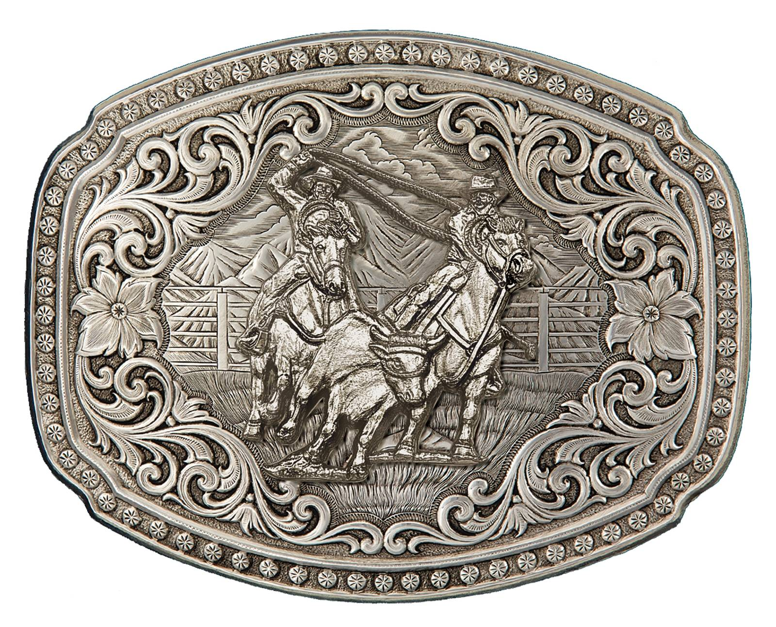 Montana Silversmiths Quicksilver Corral Western Belt Buckle with Team Ropers