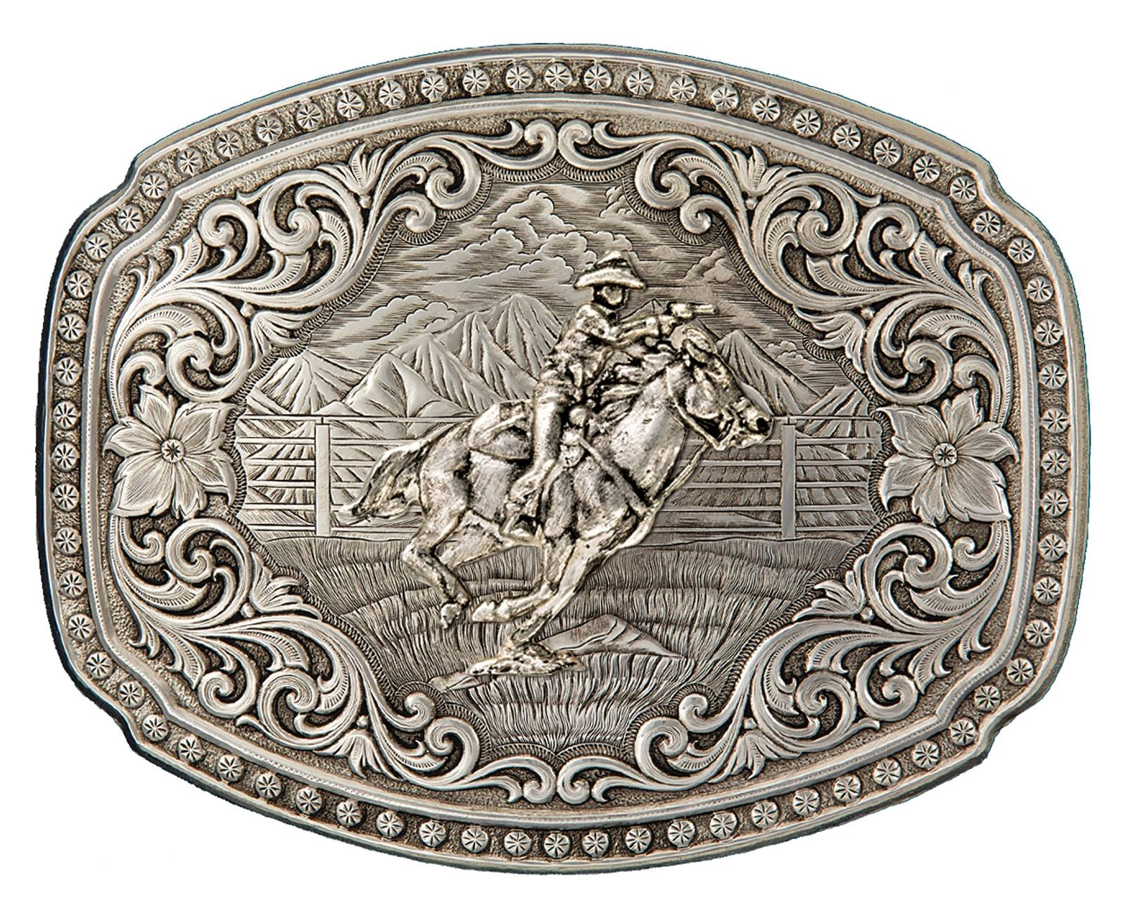 Montana Silversmiths Quicksilver Corral Western Belt Buckle with Mounted Shooter