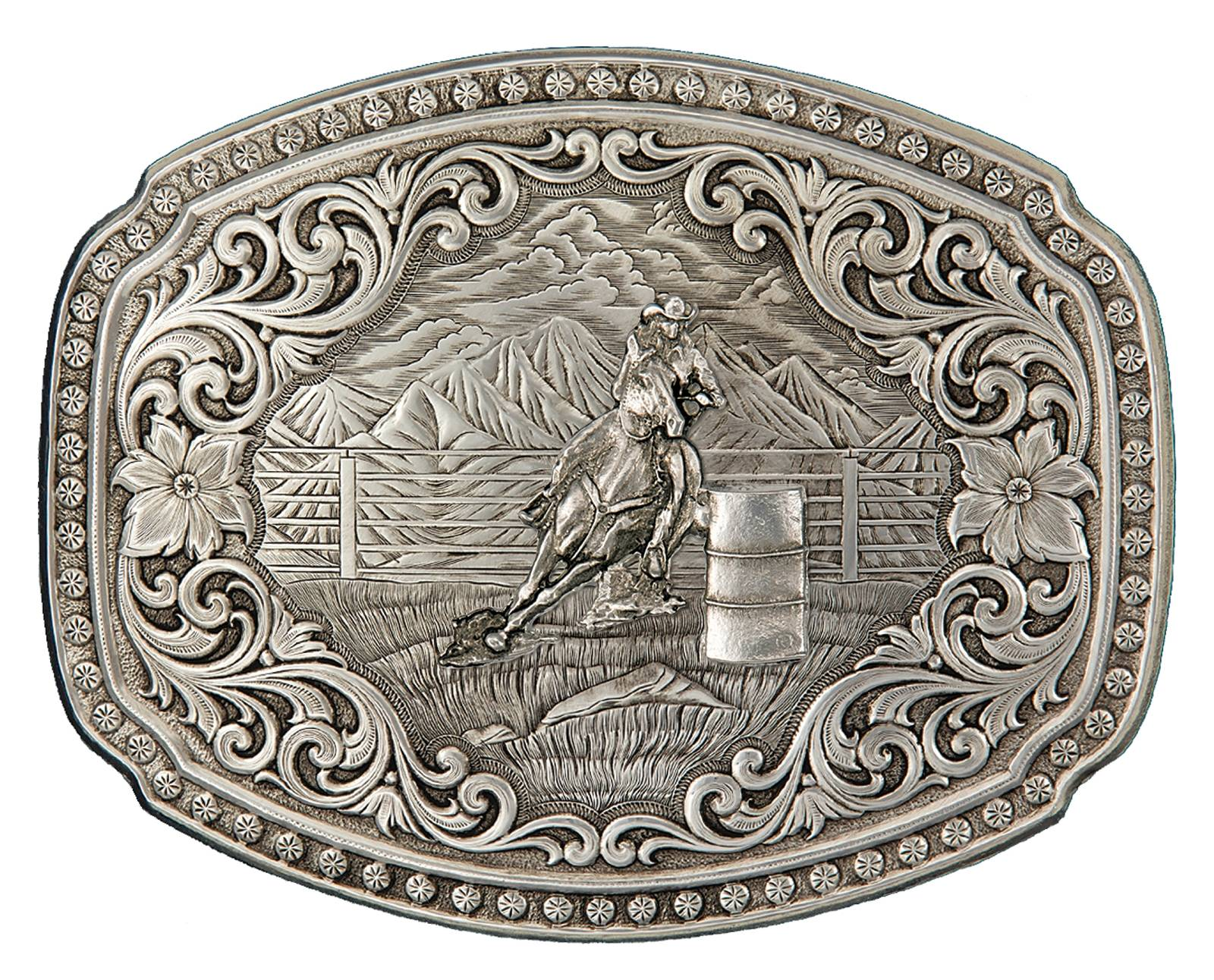 Montana Silversmiths Quicksilver Corral Western Belt Buckle with Barrel Racer
