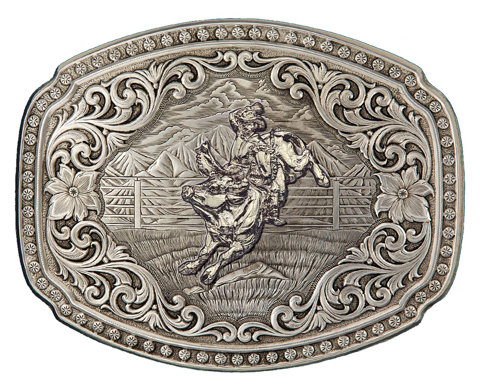 Montana Silversmiths Quicksilver Corral Western Belt Buckle with Bullrider