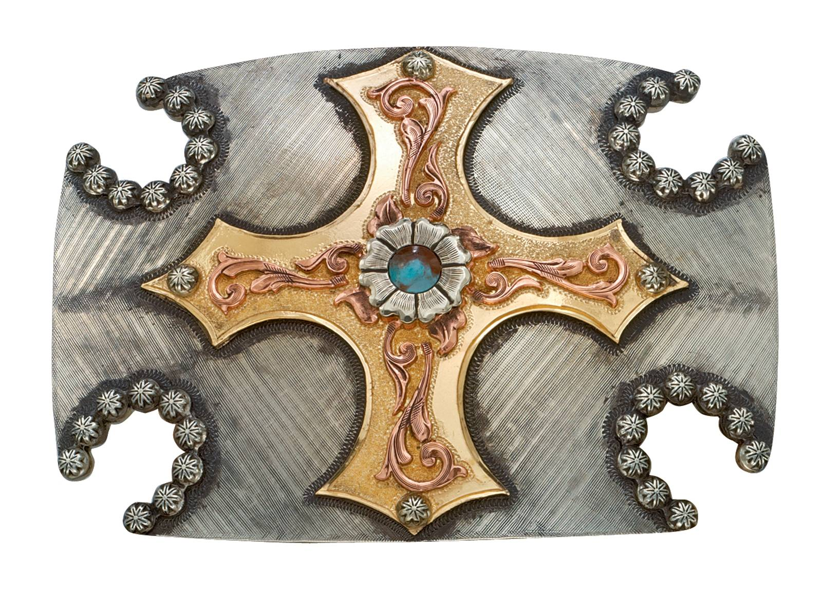 Montana Silversmiths Cabochon Flower Cross and Horseshoes Western Belt Buckle