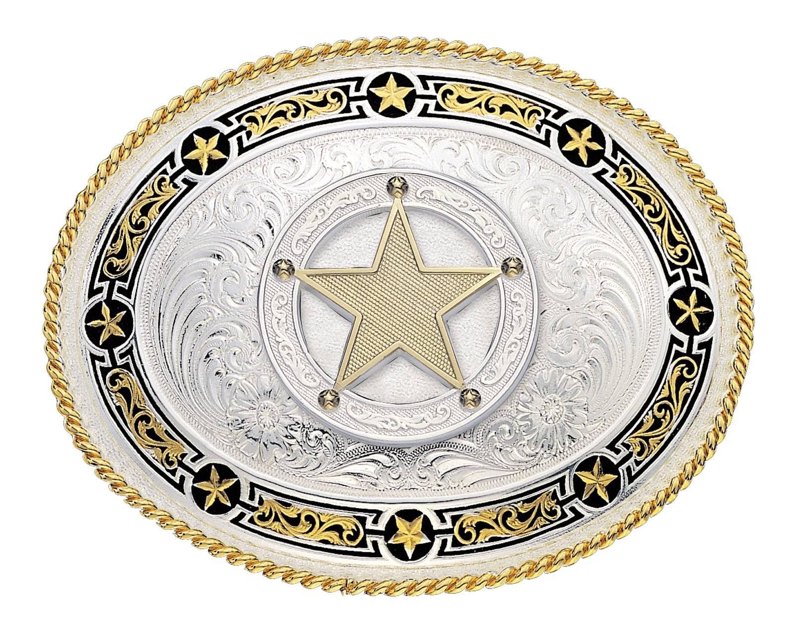 Montana Silversmiths Star Links Western Belt Buckle with Star Concho