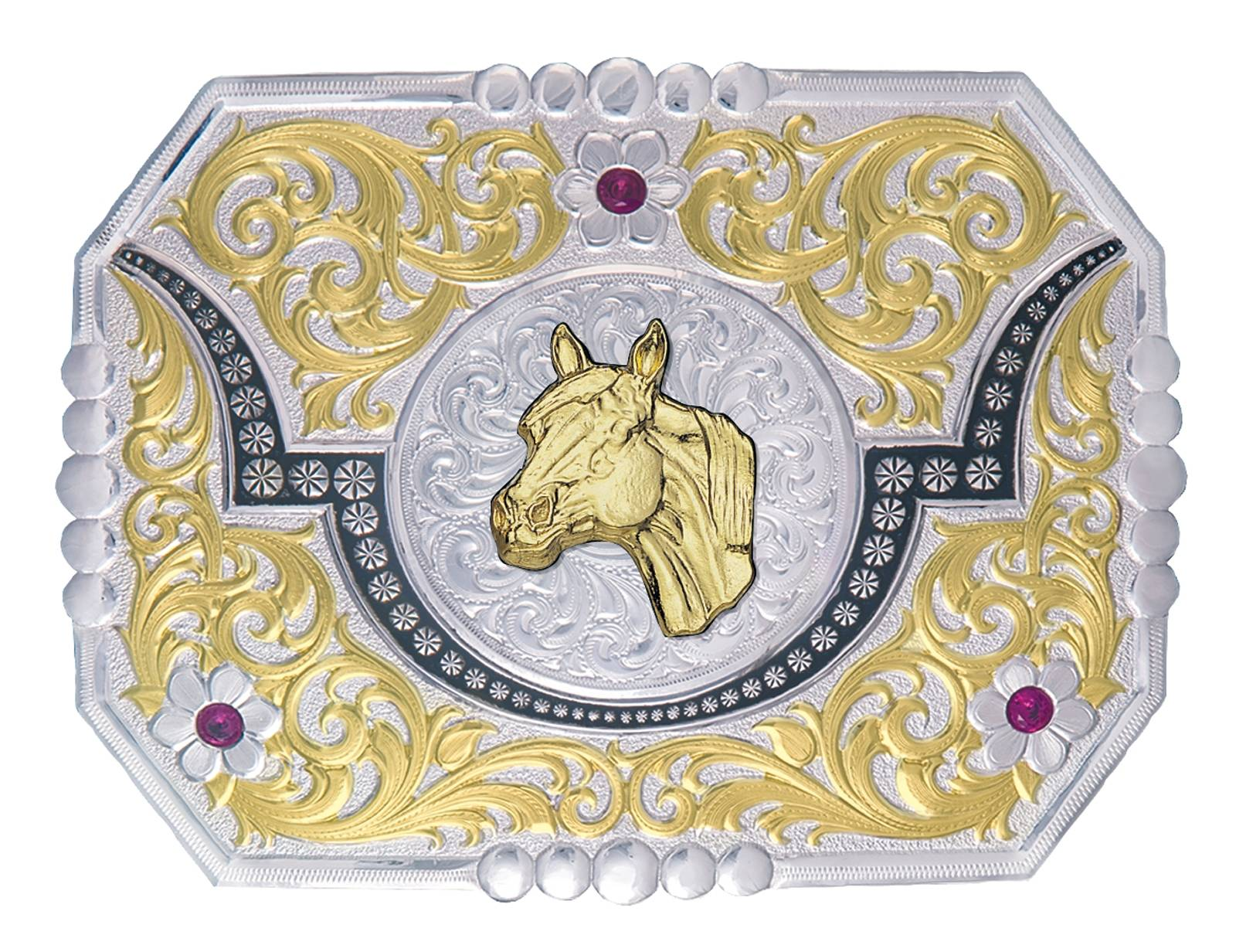 Montana Silversmiths Silver and Gold Longhorn Moon Belt Buckle with Horse Head