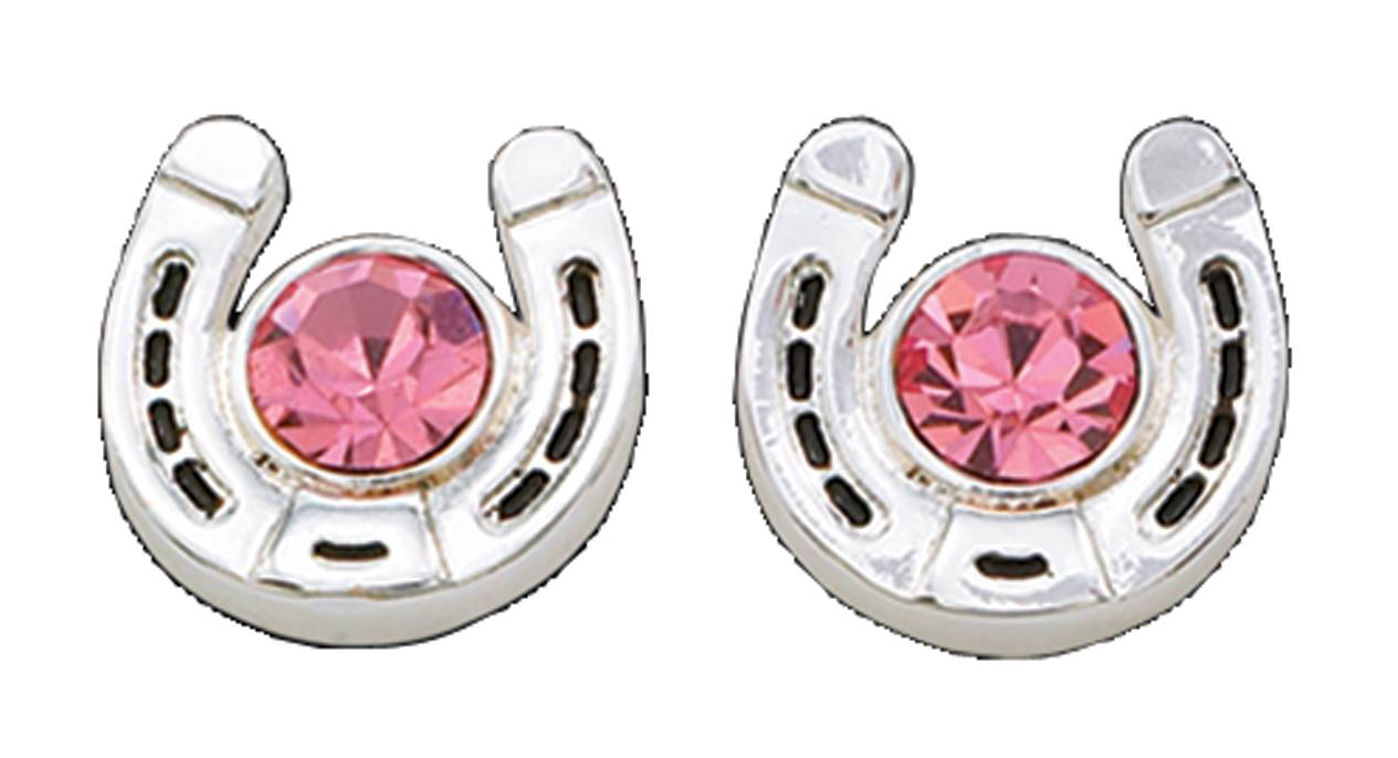 Montana Silversmiths Pink Horseshoe Treasure Post Earrings