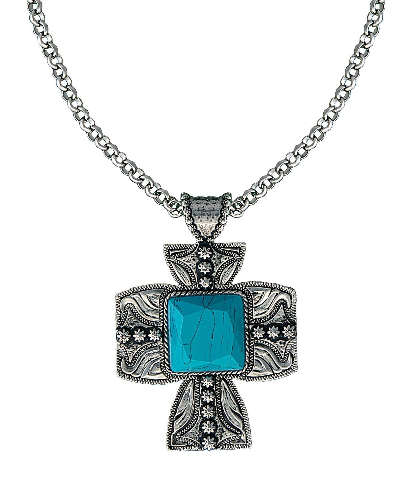 Montana Silversmiths Blue Earth underofSilver Sky Cross Pendant Necklace