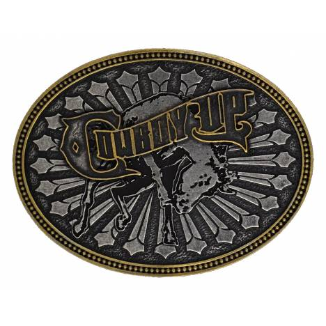 Montana Silversmiths Cowboy Up Bucking Bull Attitude Belt Buckle