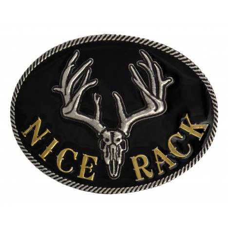 Montana Silversmiths Nice Rack with Antlered Skull Attitude Buckle