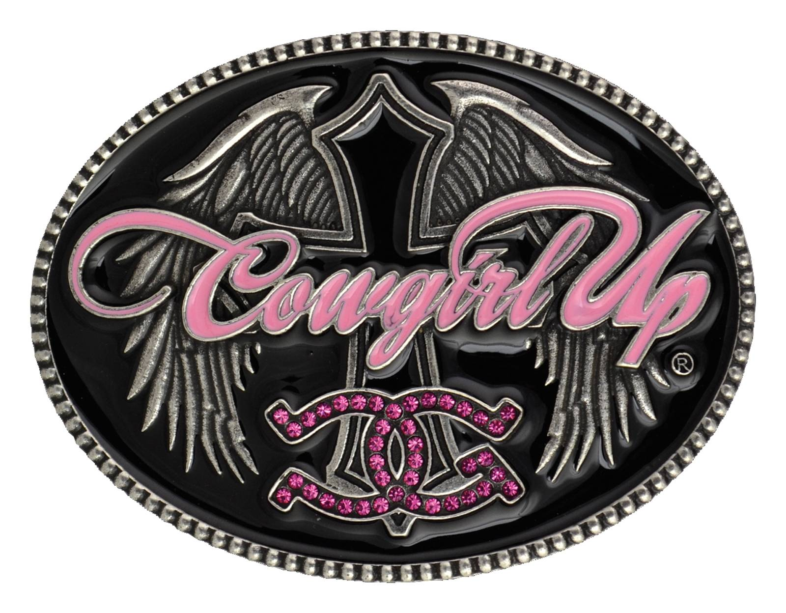 Montana Silversmiths Cowgirl Up with Winged Cross Attitude Buckle