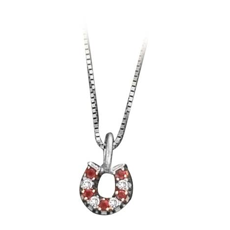 Kelly Herd .925 Sterling Silver Baby Horseshoe Pendant Red