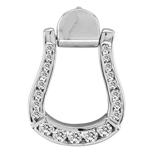 Kelly Herd .925 Sterling Silver Sparkling Oxbow Stirrup Pendant Large