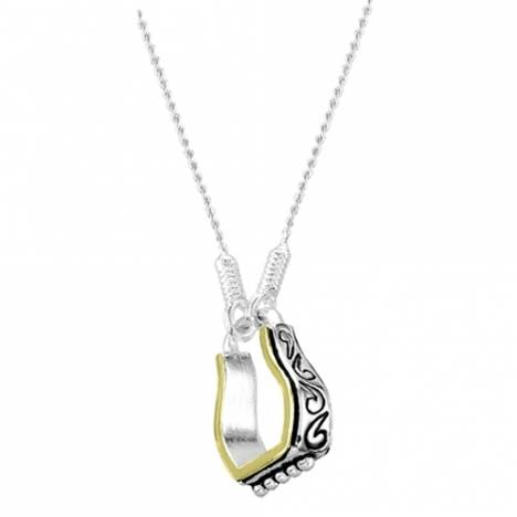 Kelly Herd .925 Sterling Silver Western Scrolled Stirrup Pendant