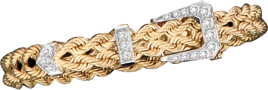 Kelly Herd 14K Gold Braid Rope Square Buckle Bracelet