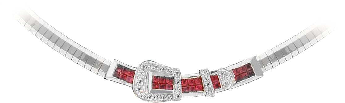 Kelly Herd 14K Gold Beautiful Ruby Buckle Necklace