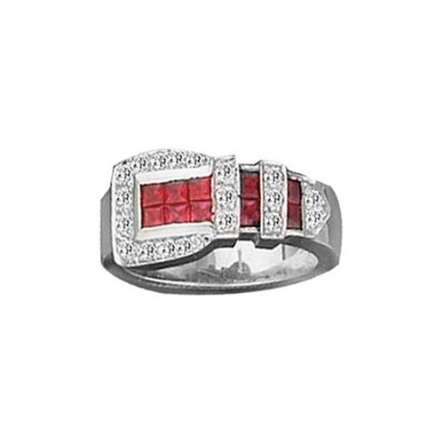 Kelly Herd .925 Sterling Silver Buckle Ring Red