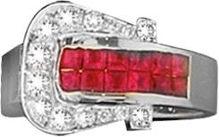 Kelly Herd .925 Sterling Silver Elegant Buckle Ring Red