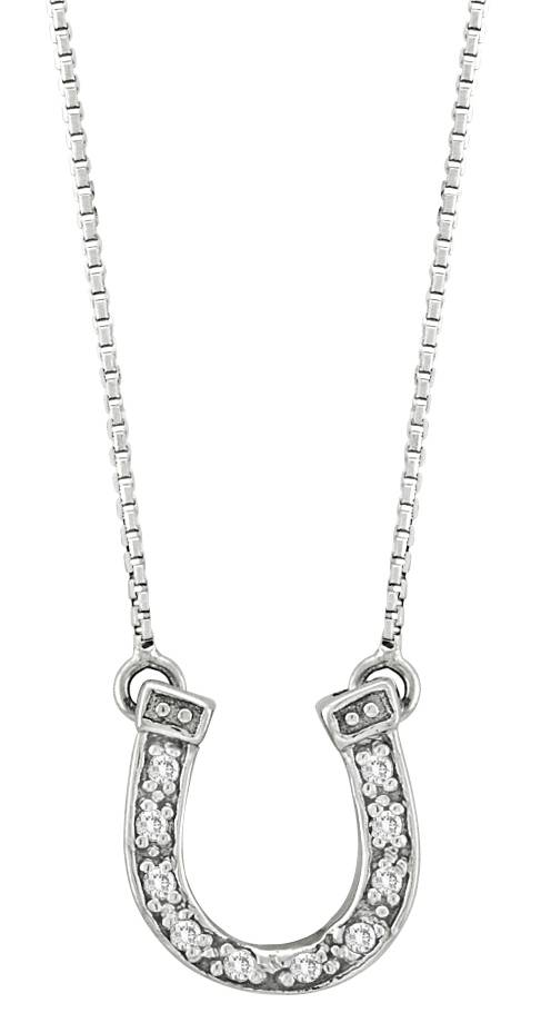 Kelly Herd .925 Sterling Silver Dangle Horseshoe Necklace