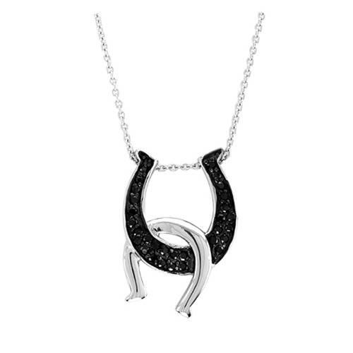 Kelly Herd .925 Sterling Silver Double Horseshoes Necklace Black