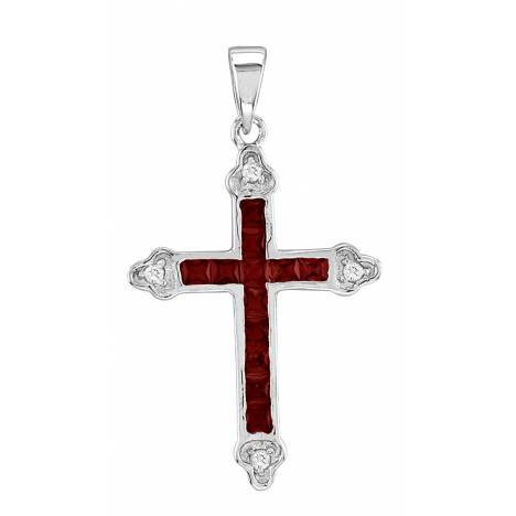 Kelly Herd .925 Sterling Silver Channel Set Cross Necklace Red