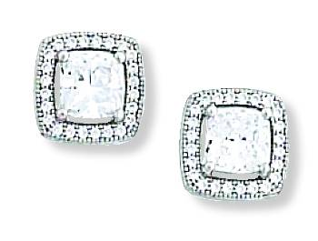 Kelly Herd .925 Sterling Silver Clear Square Earrings