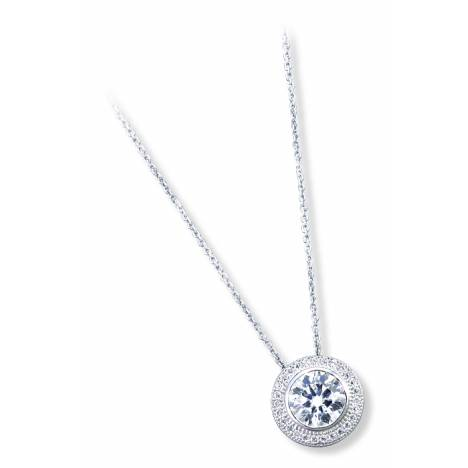 Kelly Herd .925 Sterling Silver Clear Round Pendant