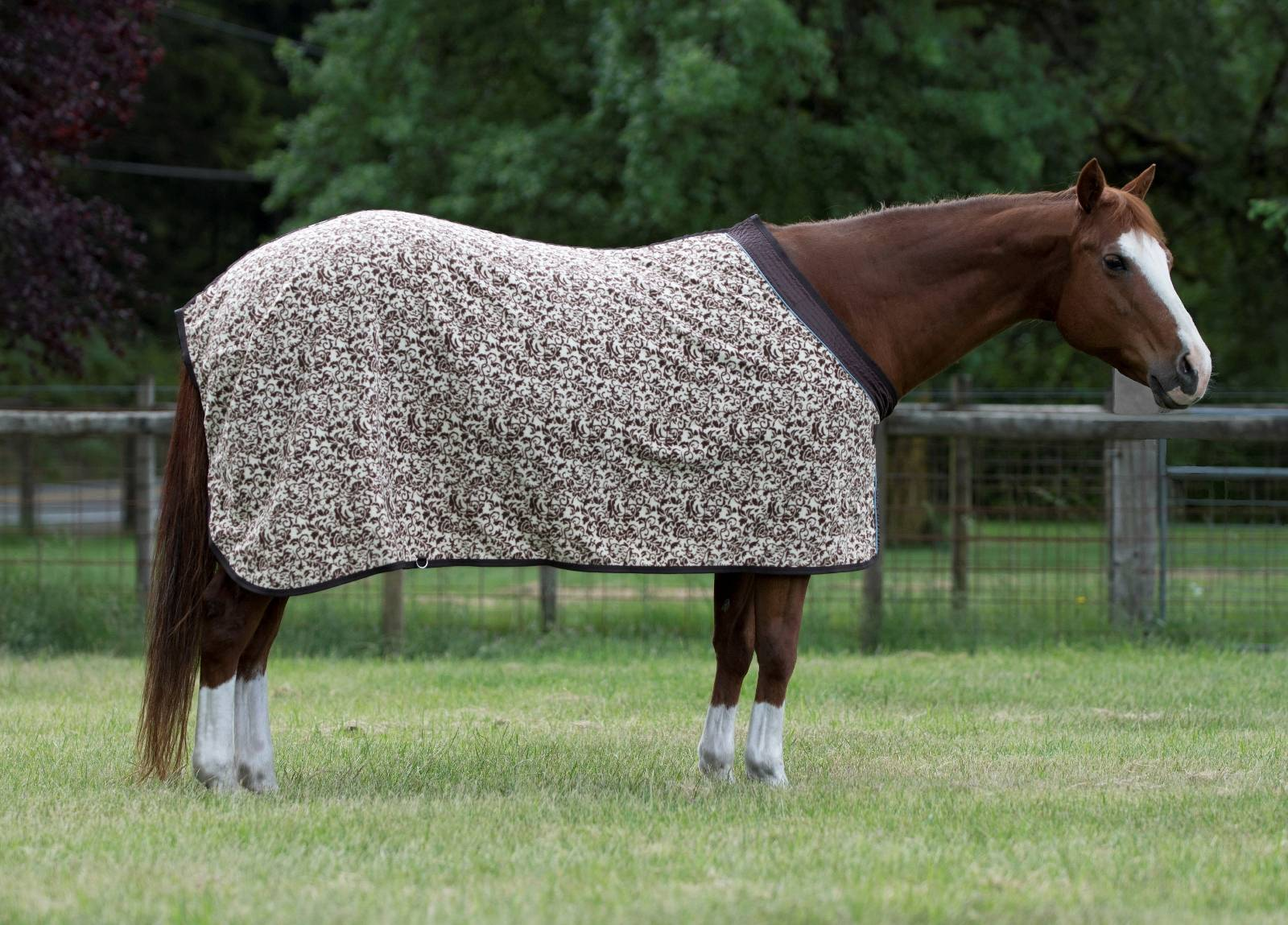 EOUS Patterned Fleece Horse Cooler - Brown Floral