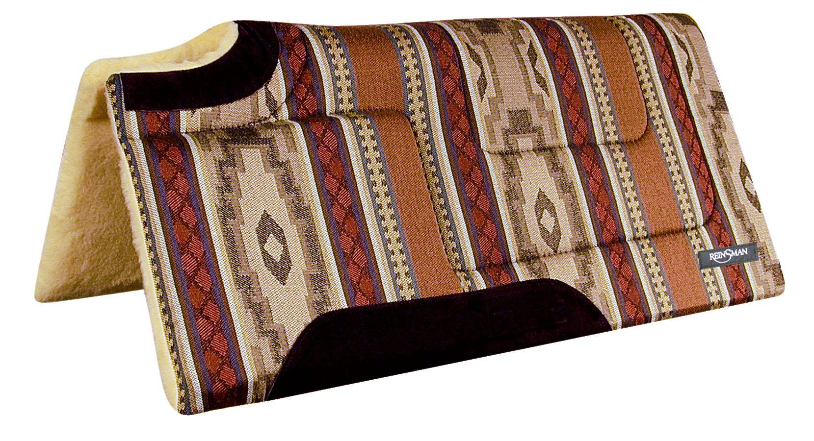 REINSMAN Square Cutback/Built-Up Fleece Herculon Pad - Corral Beige Print