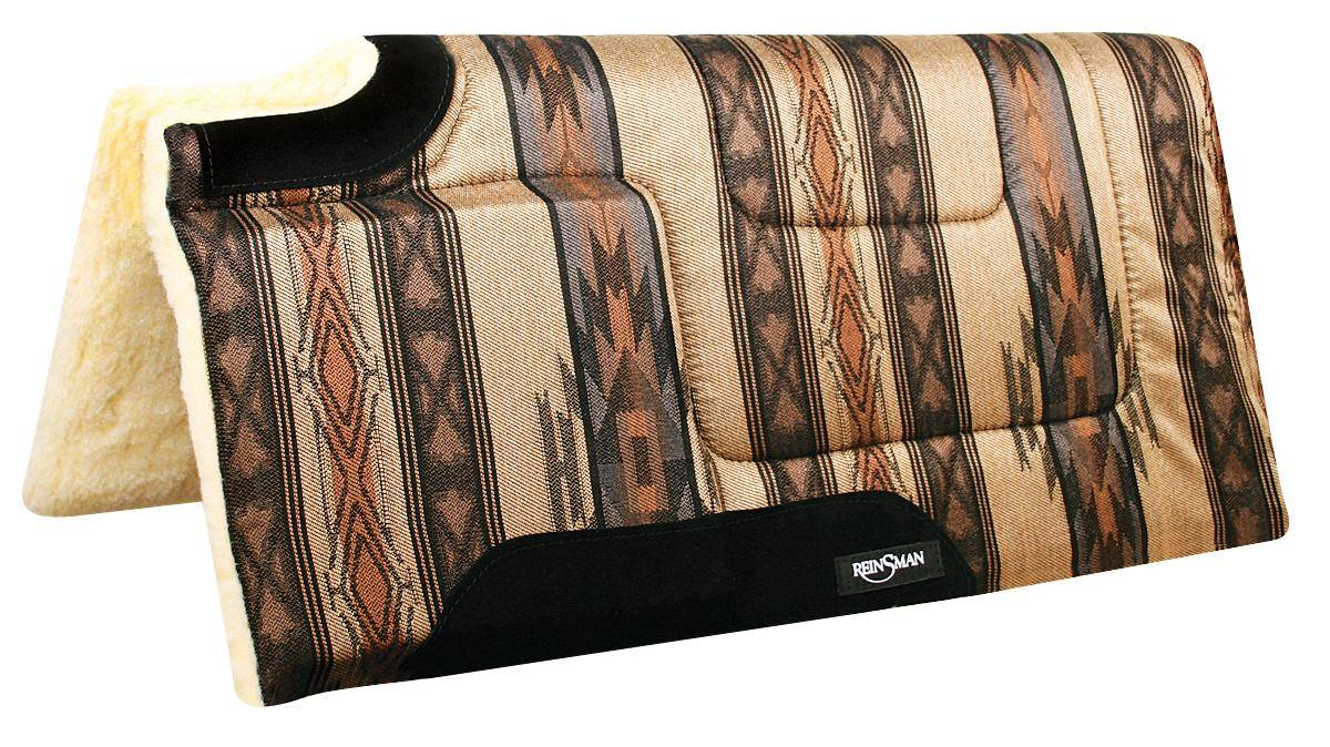 REINSMAN Square Cutback/Built-Up Fleece Herculon Pad - Santa Fe Caramel Print