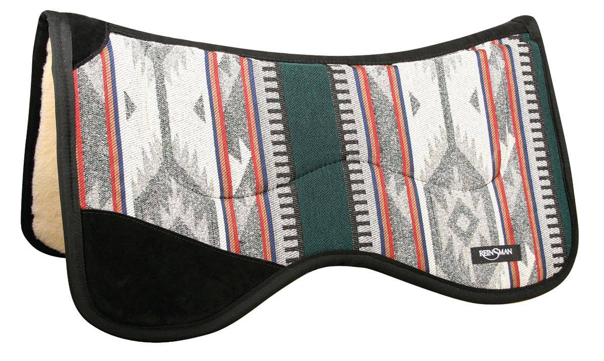 REINSMAN Fleece Tunnel Contour Herculon Pad With Leg Cutout - Norville/Dallas Green with Black Print
