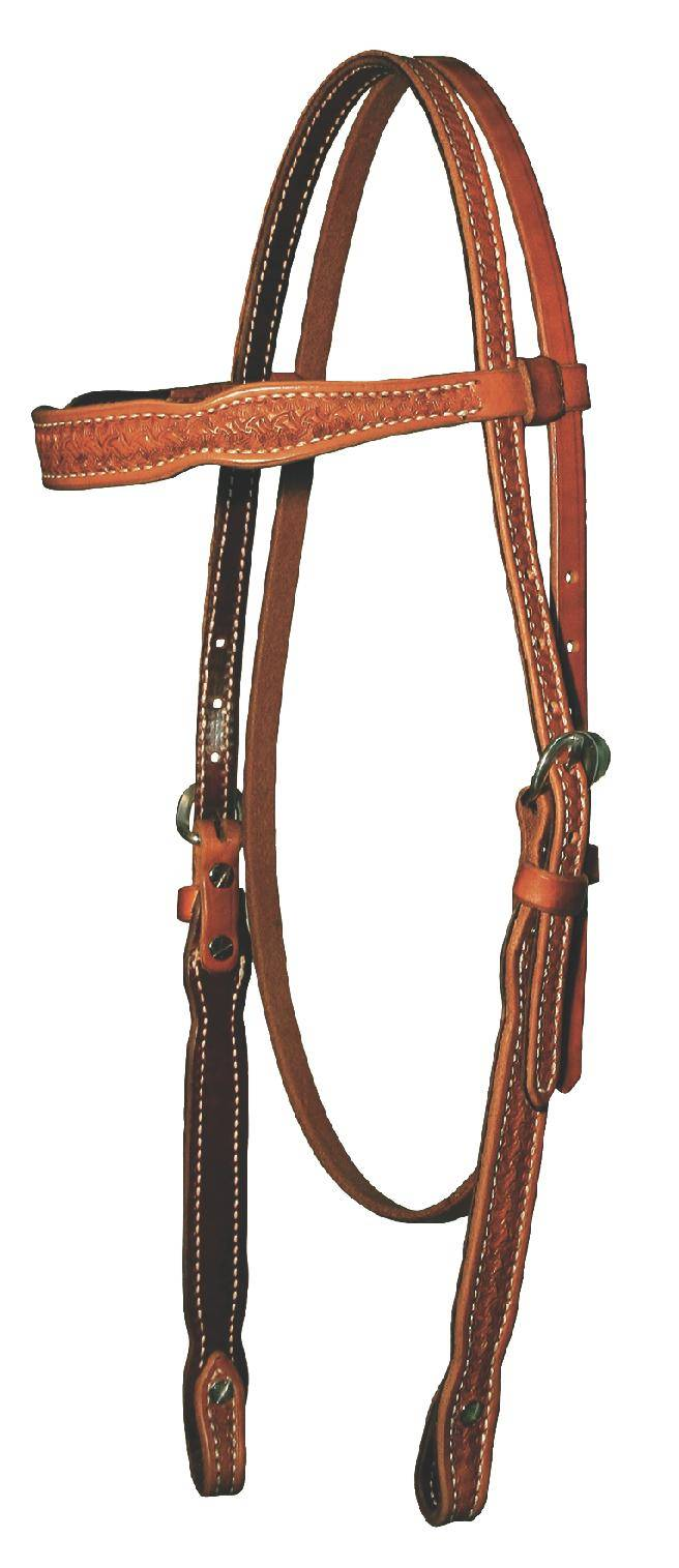OPEN BOX - Reinsman 5/8'' Tooled Spider Browband Headstall - Honey