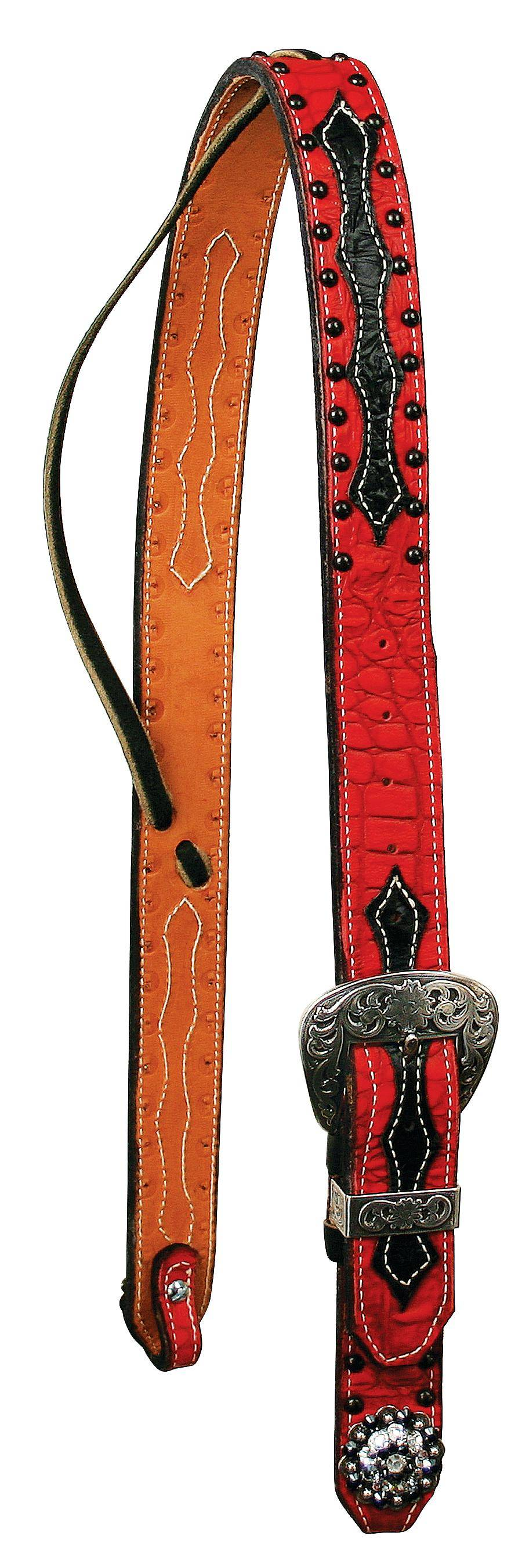 REINSMAN Neon Rodeo 1 1/2'' Set Ear Belt Headstall With Crystal Conchos - Gator