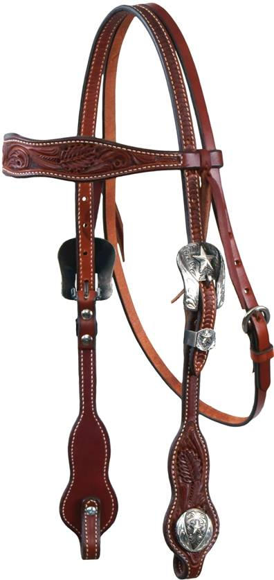 REINSMAN Tooled Browband Headstall With Star Conchos