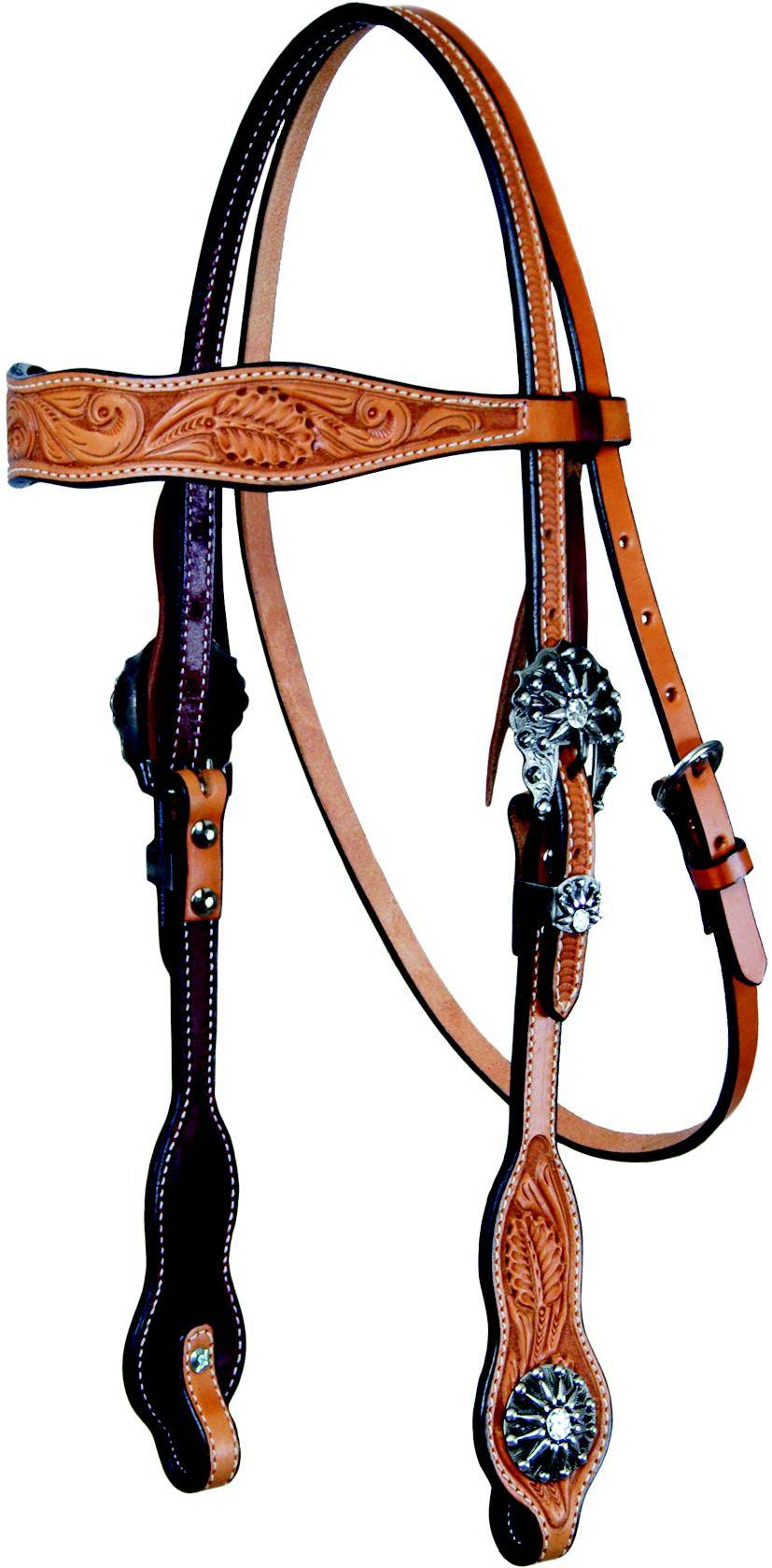 REINSMAN Tooled Browband Headstall With Sunburst Conchos