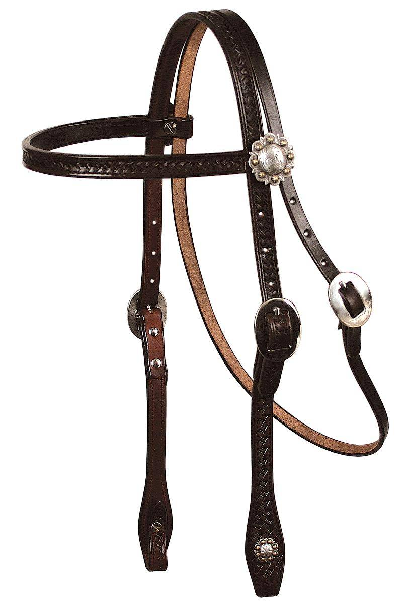 REINSMAN Tooled Browband Headstall - Basketweave With Conchos