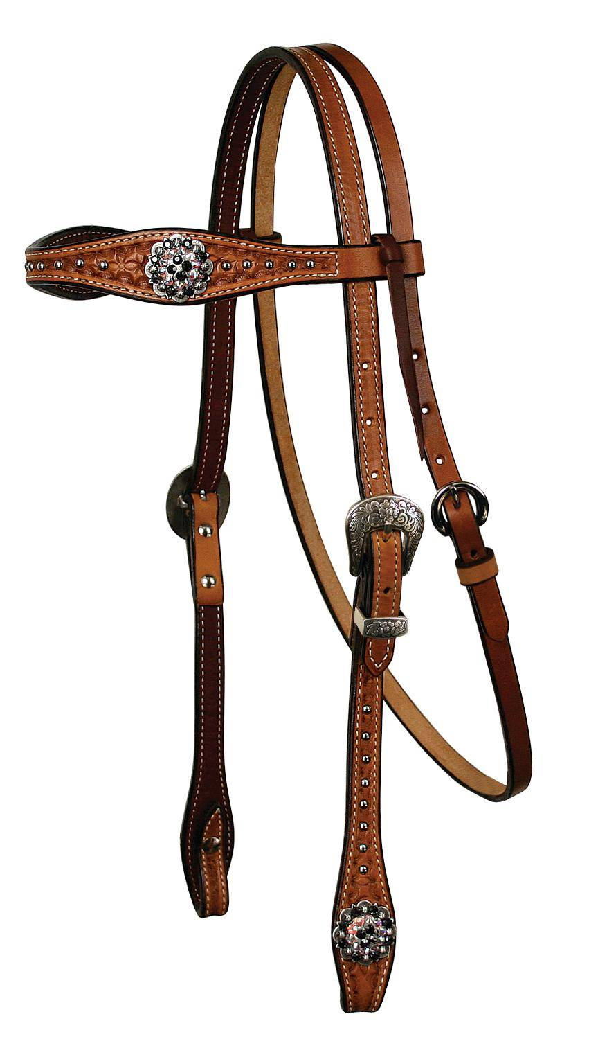 REINSMAN Molly Powell X-Treme Series - Browband Headstall With Crystal Conchos