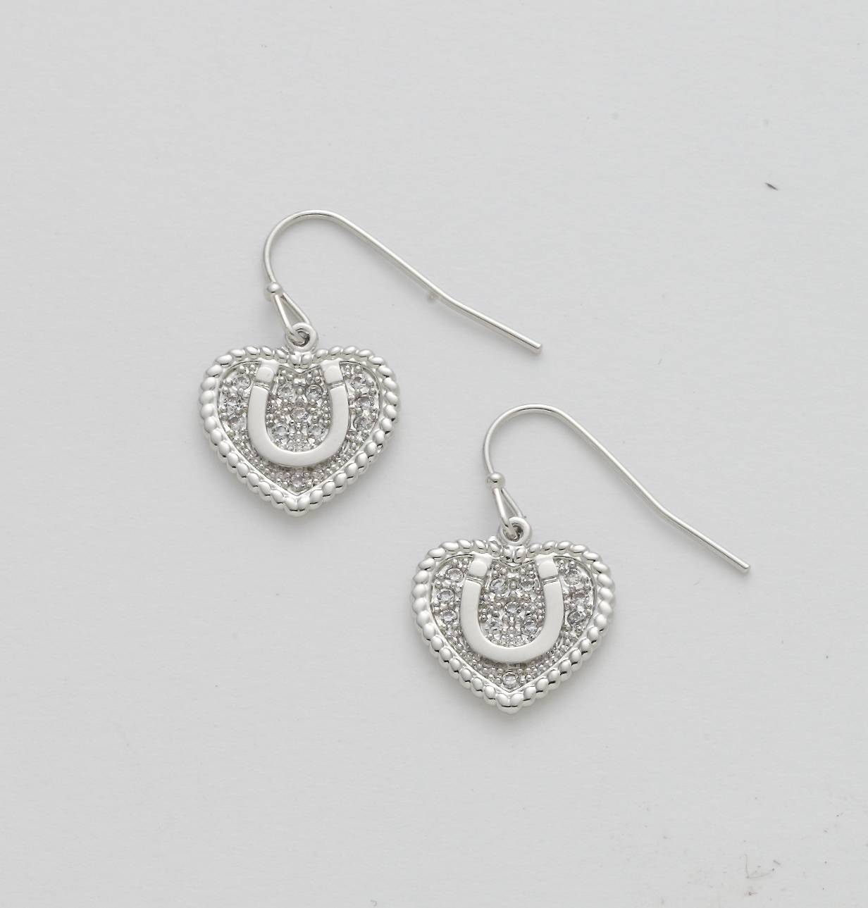 Double Row Rhinestone Heart with Horseshoe Earrings
