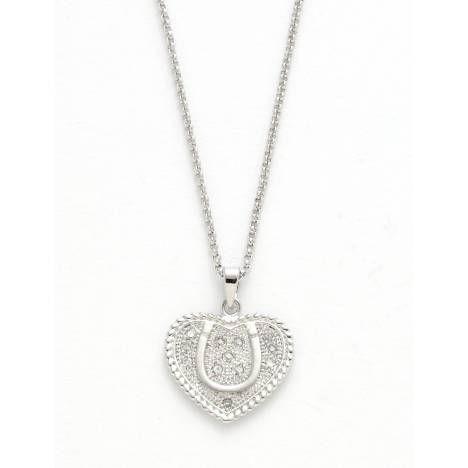 Horseshoe and Heart Sparkly Necklace