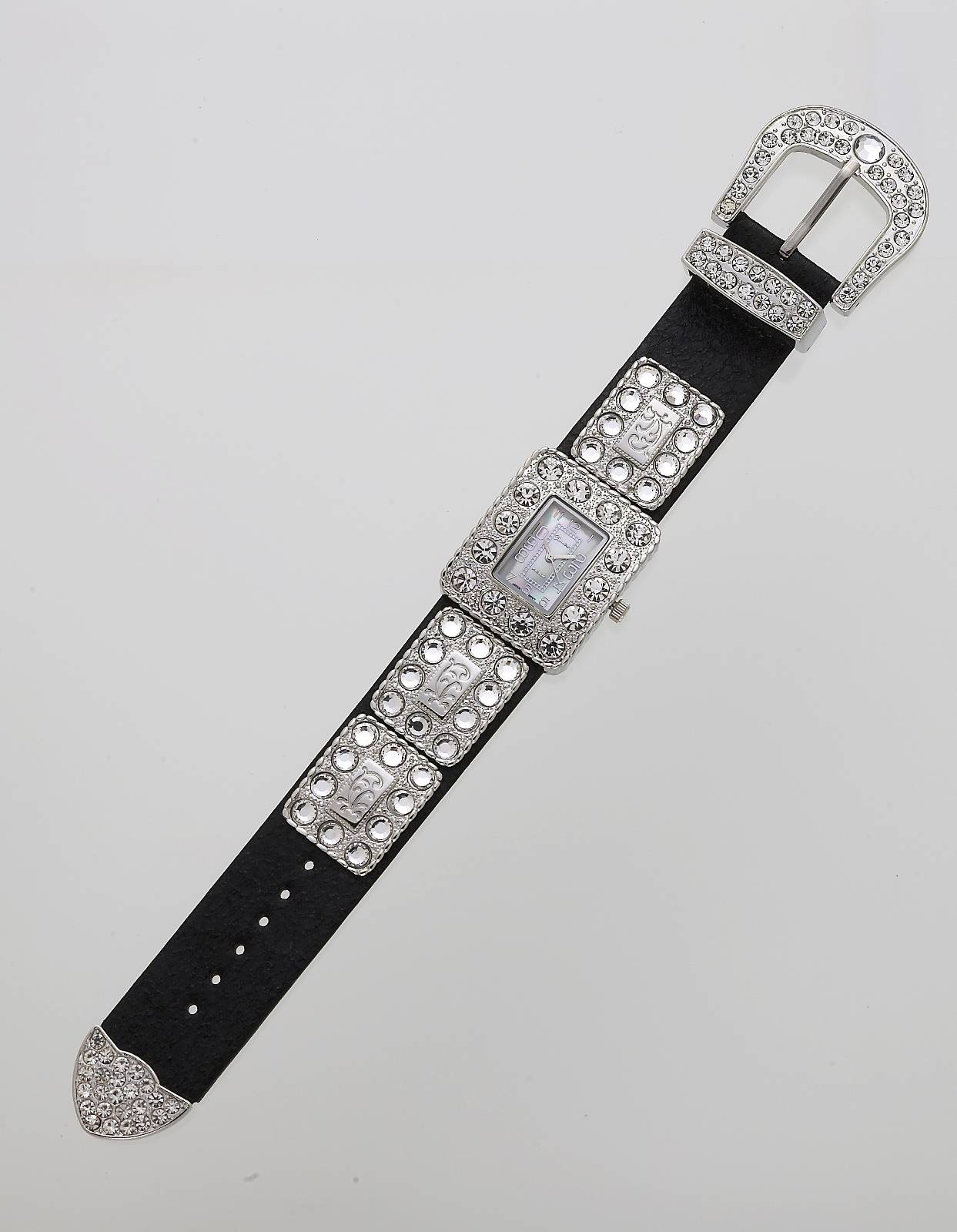 Crystal Bling Western Belt Buckle Watch