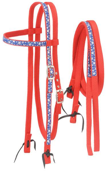 Tough-1 Nylon Browband Headstalls and Reins with Printed Stars Overlay