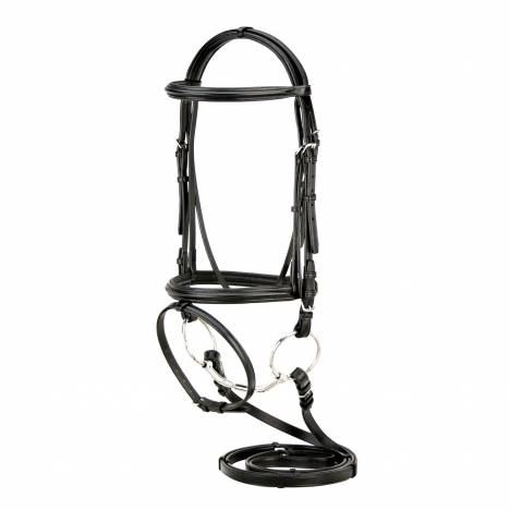 Toklat Silverleaf Plain Padded Dressage Bridle with Flash & Reins with Stops