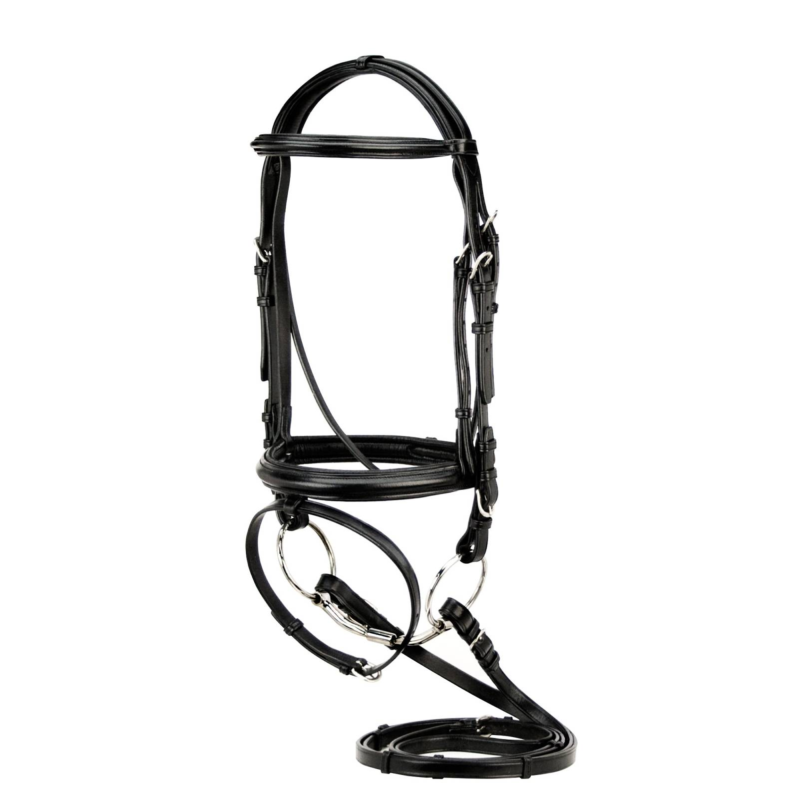 Toklat Silverleaf Plain Raised Padded Dressage Bridle with Flash & Reins with Stops