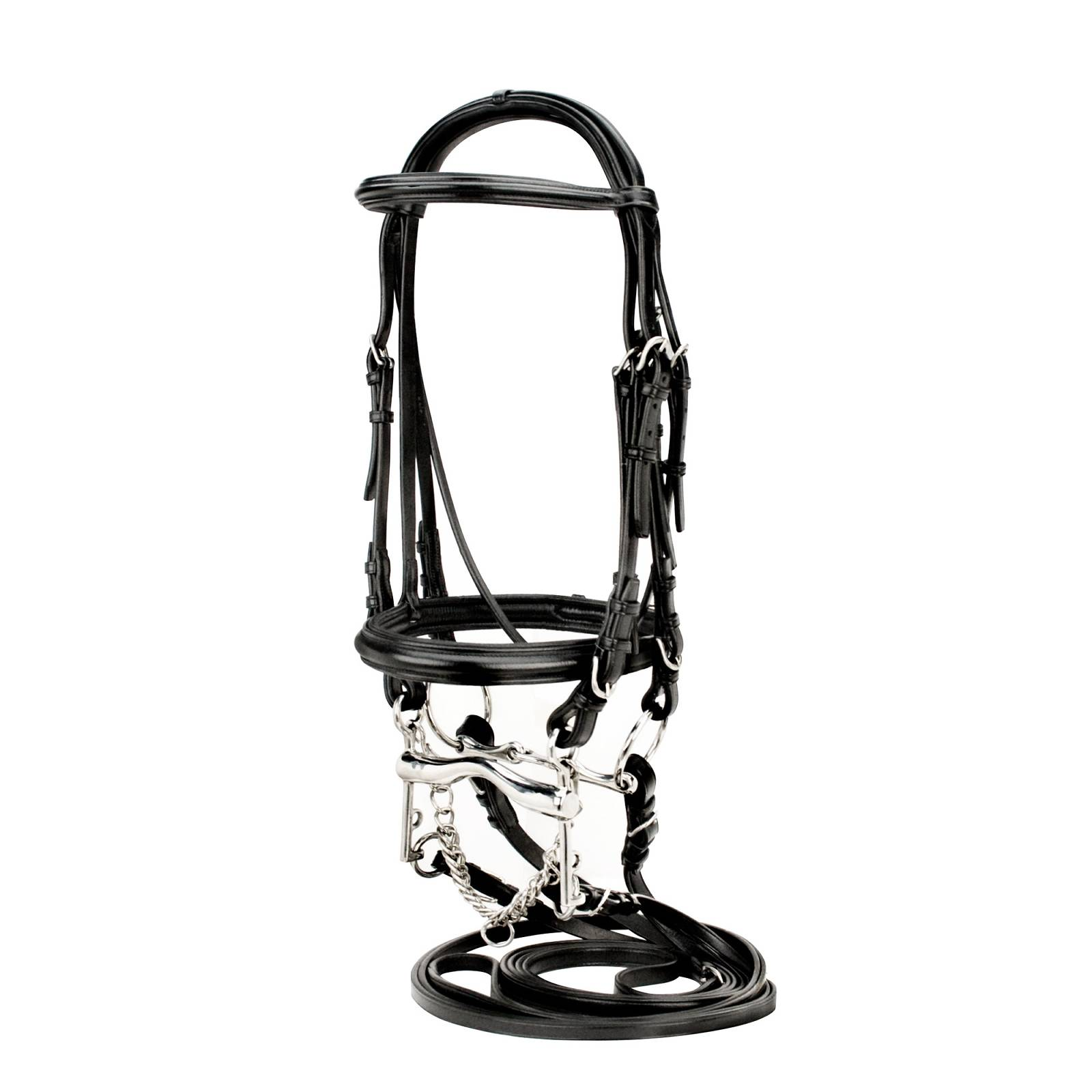 Toklat Silverleaf Raised Padded Double Bridle with 2 Pair Plain Reins