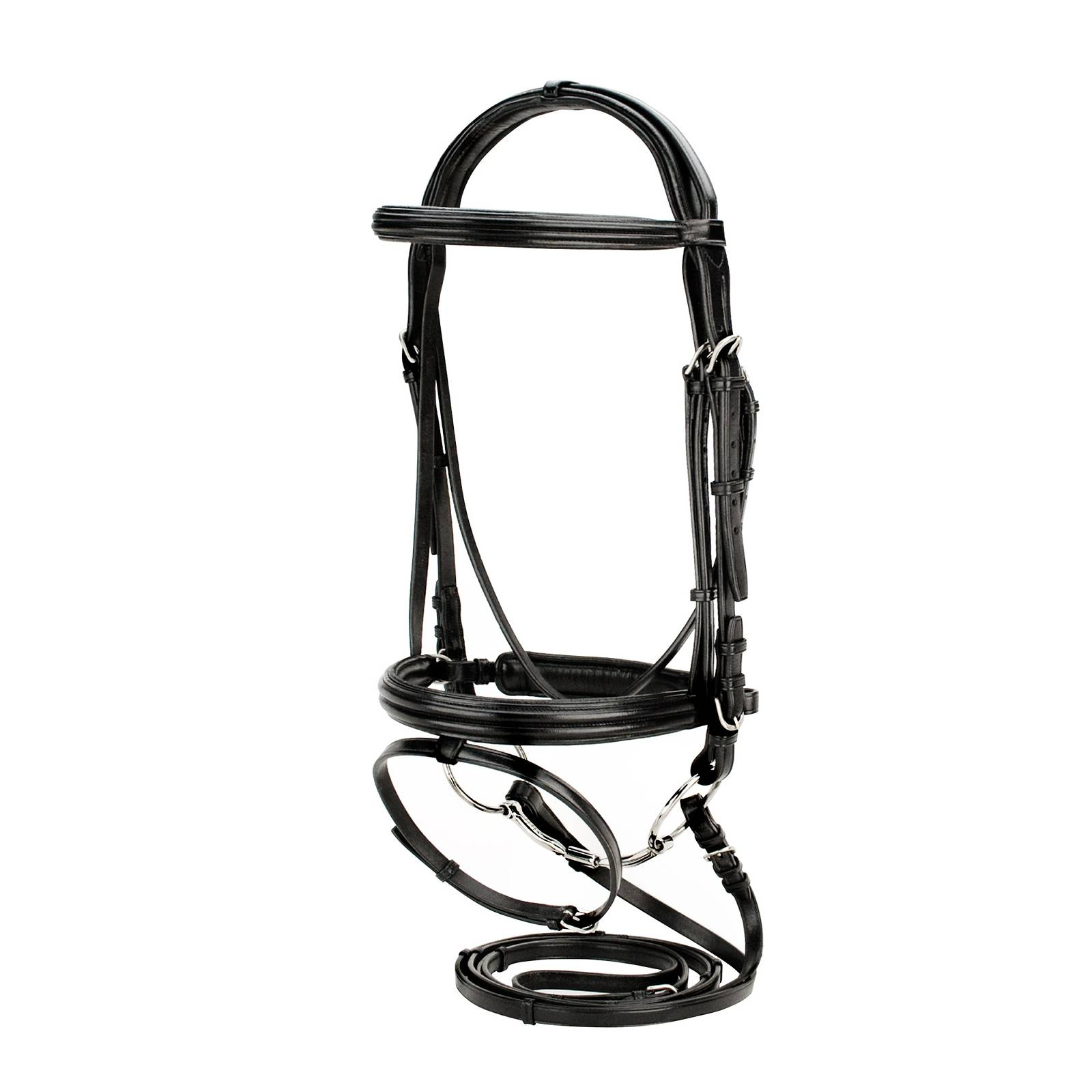 Toklat Silverleaf Double Raised Padded Snaffle Bridle with Crank & Reins with Stops