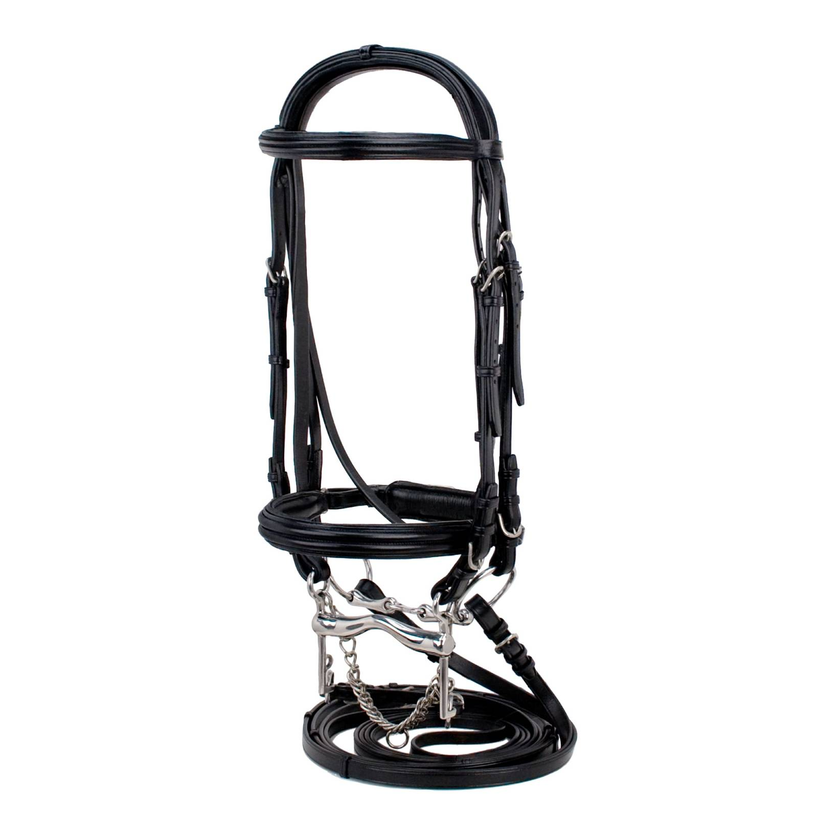 Toklat Silverleaf Double Raised Padded Double Bridle with Crank & 2 Pair Reins