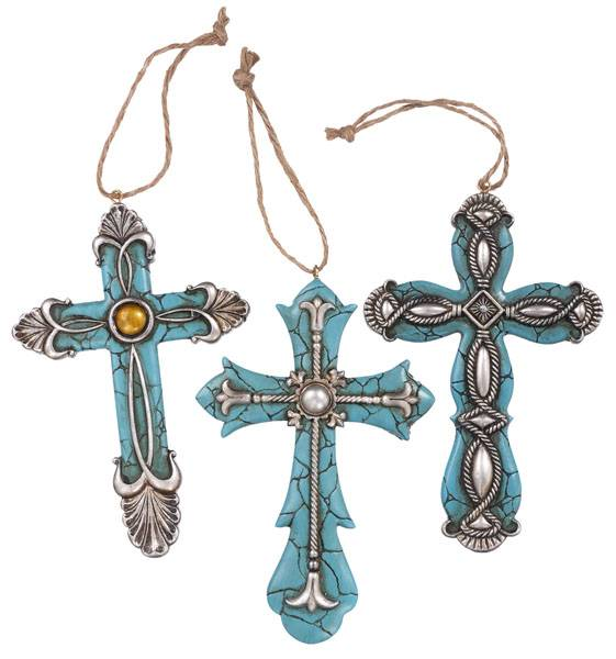 Gift Corral Turquoise Cross Ornament